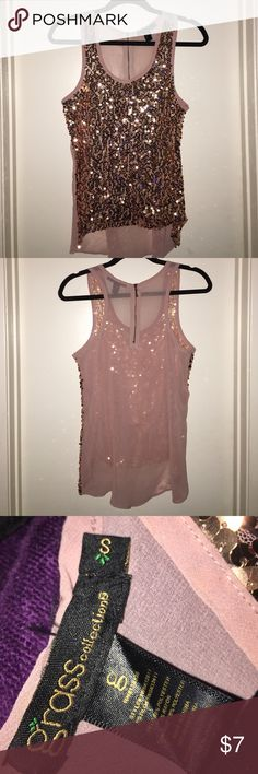 Sequin tank by Grass Mauve colored Sequin top with back zipper...this top matches perfectly with Fergie Sandal pumps I'm selling 😊 Grass Tops Tank Tops