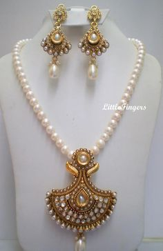 ethnic gold n white South Indian jewellery - LittleFingers Chennai