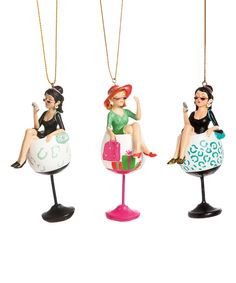Look at this Black & Pink Drink Ornament Set on #zulily today!