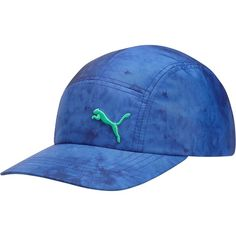 Puma Sophia 5 Panel Adjustable Hat ($22) ❤ liked on Polyvore featuring accessories, hats, blue, five panel hat, logo hats, blue hat, curved brim hats and cat hat