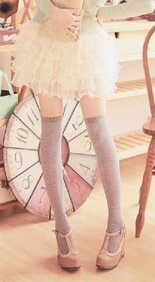 So cute, skirt, socks and shoes... but legs... Those can't be someones actual legs!