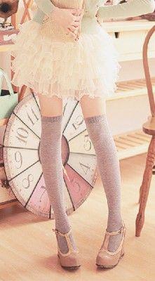 Cute, korean: Fluffy mint sweater. Off white ruffled, lace skirt. Light grey…