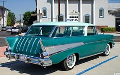 "Produced from 1955 to 1957 as a two-door station wagon, the Chevrolet Nomad is one of the best regarded GM vehicles of the period by aficionados. In 1957 the V8 engine displacement increased to 283 cubic inches from 265 in 1957, with the ""Super Turbo Fire V8"" option producing 283 horsepower with the help of continuous fuel injection."