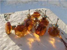 Amber Glass Knobs, Amber, Retro, Auction, Retro Illustration, Ivy