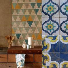 These beautifully silkscreened plywood tiles from Moonish Tiles are outfitted with a magnetic backing that ...