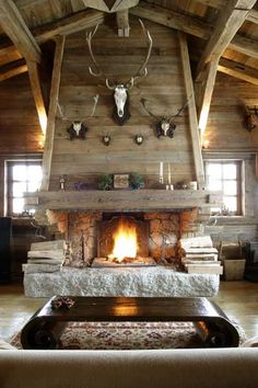 Swiss Chalet fireplace.