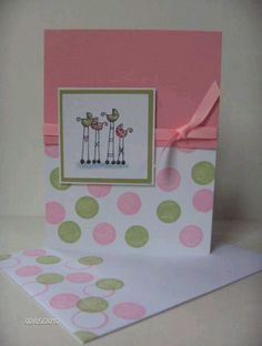 Girl baby shower card, cute but need to tie some brown in there