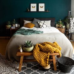 decor and organization bedroom decor decor ideas yellow bedroom decor decor without headboard decor dunelm decor bedroom decor Bedroom Green, Jewel Tone Bedroom, Teal Bedroom Accents, Dark Cozy Bedroom, Teal Bedroom Walls, Emerald Bedroom, Earth Tone Bedroom, Charcoal Bedroom, Jewel Tone Decor