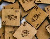 Sign Language Scrabble style tiles set of 10 random tiles