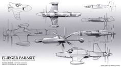 Early pencil sketches resembled real WWII concepts, with modern design themes slipping in here and there. On the right, a simple bullet shape that got picked.