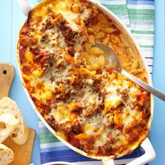 Lasagna Casserole Recipe from Taste of Home -- shared by Deb Morrison of Skiatook, Oklahoma casserole recipes dinners,mediteranian recipes Healthy Potato Recipes, Beef Recipes, Hamburger Recipes, Cooking Recipes, Cauliflower Recipes, Lasagna Recipes, Pasta Recipes With Ground Beef, Recipies, Batch Cooking