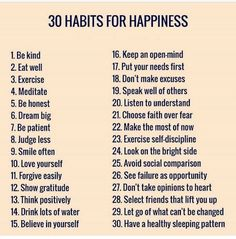 30 Habits for Happiness