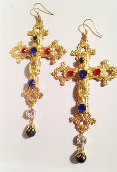 Byzantine Empress Large Crystal Encrusted Cross Earrings-Statement  Chandelier Earrings Italian Dolce and Gabbana Inspired 12d673f6cf
