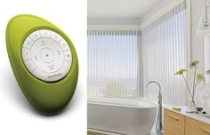 Choose intelligent shades that simplify your life with Hunter Douglas Luminette® Privacy Sheers with PowerView™ Motorization.  By fusing form and function, this new motorized system offers the ultimate control in the palm of your hand with the PowerView Pebble™ Remote. #WhiteBathroom #MotorizedWindowTreatments