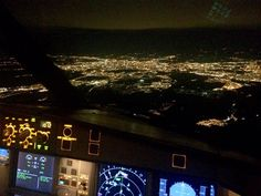 Night Flight - Approaching Madrid. Beautiful nite - A330 PilotsEye