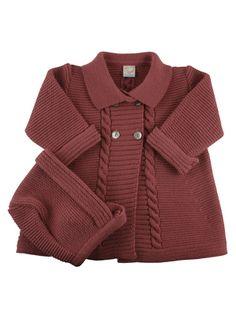 Abrigo de punto para bebe con capota Knitting Patterns For Kids Patterns Sweaters Kids Hats Baby Crochet Hands Coat Baby Knitting Patterns, Baby Girl Patterns, Coat Patterns, Knitting For Kids, Knitting Designs, Baby Coat, Knitted Coat, Baby Cardigan, Jacket Pattern