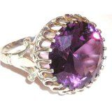 Sterling Silver Large 16mm Color Changing Synthetic Alexandrite Ring - Finger Sizes 5 to 12 Available -