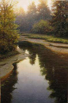 """Confluence at Dawn ~ artist Renato Muccillo; oil on canvas, 16"""" x 24"""". #art #painting #landscape #contemporary"""