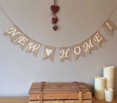 ❤️ NEW HOME NEW HOUSE House Warming Hessian Bunting Banner Burlap Vintage Rustic #Unbranded #Housewarming