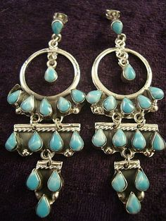 TAXCO Mexican Sterling Silver Larimar Beaded Bead Hoop Dangle Earrings $69.95
