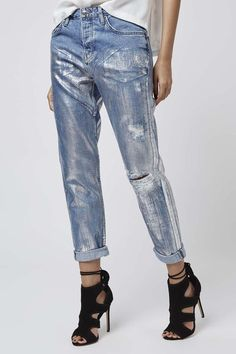 MOTO Metallic Hayden Boyfriend Jeans - Jeans - Clothing - Denim just got a SERIOUS update with Metallic coating in a low slung boyfriend fit. No accessories needed. #Topshop