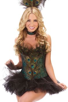 Free Shipping 2013 Fashion Sexy Cheap fancy Peacock feathers corset tops Lingeries Woman Corsets Bustiers Underwear Wholesale $50.22