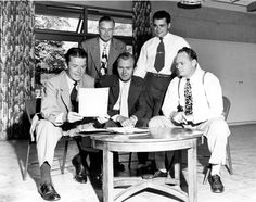 "Members of the North Hollywood Commerce and Industry ""A"" division, 1949. Left to right front row: Emery Potter, chairman; John De Leonard. Left to right rear row: Robert Draine, William F. Marsh, and Douglas J. Wright. Members were planning to canvass firms in the community for support during the approaching Community Chest campaign.  San Fernando Valley Historical Society. San Fernando Valley History Digital Library."