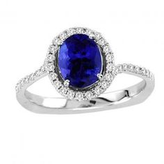 .15ct Oval Tanzanite Ring With .31ctw Diamonds in 14k White Gold @ $1115.99.