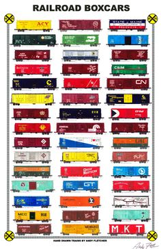 """An 11""""x17"""" poster with some of Andy Fletcher's hand drawings of railroad boxcars part 1."""