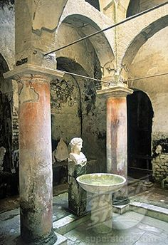 Ercolano. Italy | Ancient fountain sculpture in the Suburban Baths at Herculaneum