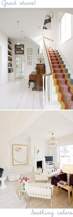 If I wasn't moving out of base housing in a few months, I would totally find a way to use these colored stripes (removable vinyl?) to brighten up my white linoleum floors. Interior Design Inspiration, Home Decor Inspiration, Beautiful Space, Beautiful Homes, Interior Styling, Interior Decorating, Decorating Stairs, Carpet Stairs, Interior Exterior