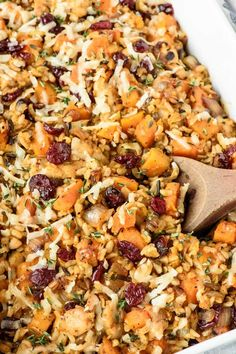 Chicken and Wild Rice Casserole from scratch without the creamy of anything soup! Butternut squash and cranberries make this a healthy all-in-one-meal. (gluten free)