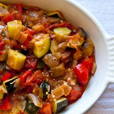 Alice Waters' Ratatouille. A wonderful recipe using summer vegetables. I like serving it cold with a drizzle of good olive oil and toasted pinenuts on top