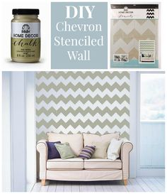 how to diy a chevron wall with stencils and folkart home decor chalk paint