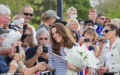 All smiles: The royal couple are in Auckland with baby George as part of a three-week tour of New Zealand and Australia