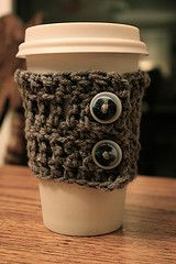 """Crochet Coffee Sleeve; fun project and GREAT gift idea. Pair with reusable """"I'm not a paper cup"""" mug!"""