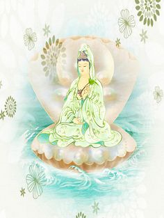 New print available on lanjee-chee.artistwebsites.com! - 'Clam-sitting Kuan Yin 1' by Lanjee Chee - http://lanjee-chee.artistwebsites.com/featured/clam-sitting-kuan-yin-1-lanjee-chee.html