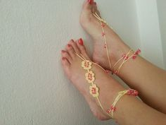 Yellow with pink beads flowers Barefoot Sandals by ArtofAccessory, $17.00