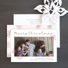 Glittered snowflakes holiday photo cards featuring your favorite family photo, glittery snowflakes, and sparkly accents. Wedding Stationery, Wedding Invitations, Christmas Photo Cards, Cool Patterns, Bold Colors, Save The Date, Holiday Ideas, Snowflakes, Frame