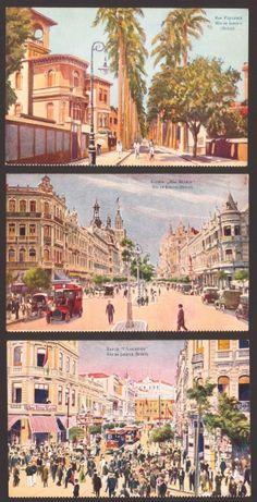 (3) Cartões Postais - Rua da Assembléia / Rua Paysandú / Avenida Rio Branco - Rio de Janeiro início
