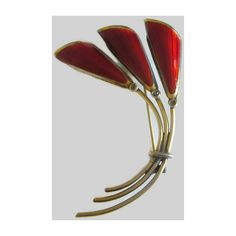 Oystein Balle Brooch, Modernist, Norway Sterling Flower Pin, Vintage... ($84) ❤ liked on Polyvore featuring jewelry, brooches, sterling silver brooch, red jewellery, vintage broach, vintage sterling silver jewelry and enamel jewelry
