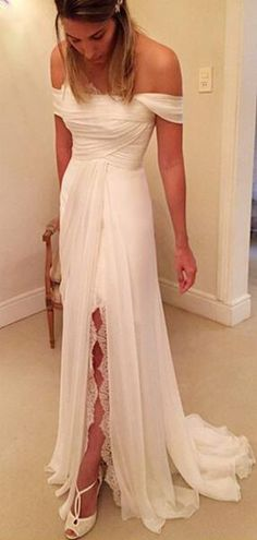 28c4fdca84d New Arrival A-Line Off Shoulder Split Chiffon Long Wedding Dresses With  Lace,VPWD358