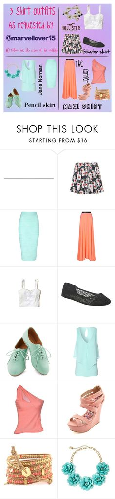 """""""3 skirt outfits"""" by super16 ❤ liked on Polyvore featuring Hollister Co., Jane Norman, Roksanda Ilincic, Wet Seal, Valentino Roma, Charlotte Russe, Mixit and La Hormiga"""