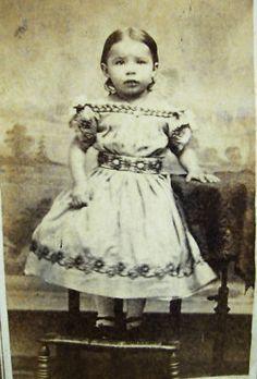 CIVIL WAR ERA CDV PHOTO OF PRECIOUS LITTLE GIRL WEARING A GORGEOS HOOP DRESS