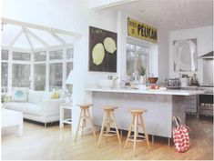 L-shaped kitchen dining, with peninsula and conservatory