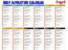 Body Revolution Calendar - Calendario in italiano - Prima e One Song Workouts, Workout Songs, Workout Videos, At Home Workouts, Cheer Workouts, Morning Workouts, Morning Routines, Body Workouts, Workout Calendar