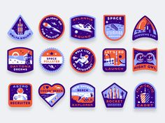 Vacationaut Badges #digitalart #art #graphics #graphicdesign #design #illustration #vector #badge #icon #dribbble