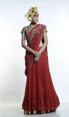 LEHENGA SARI with grey fully emb blouse is now available to be ordered at http://www.ekru.in/product/lehenga-sari-7