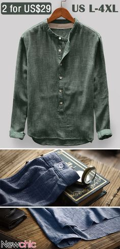 Mens Vintage Solid Color Stand Collar Long Sleeve Loose Casual T shirt Skinny Jeans Boots, Shirts & Tops, Casual T Shirts, Men Casual, Casual Shoes, Disney Shirts, Chemise Fashion, Loose Fitting Tops, Long Sleeve Henley