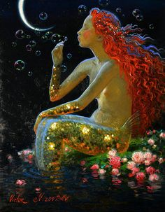 Victor Nizovtsev ( Viktor Nizovtsev ) Victor Nizovtsev is a masterful oil painter of theatrical figurative composition, fantasy, landscapes, and still life. Fantasy Kunst, Fantasy Art, Illustrations, Illustration Art, Victor Nizovtsev, Mermaids And Mermen, Merfolk, Mermaid Art, Oil Painting On Canvas